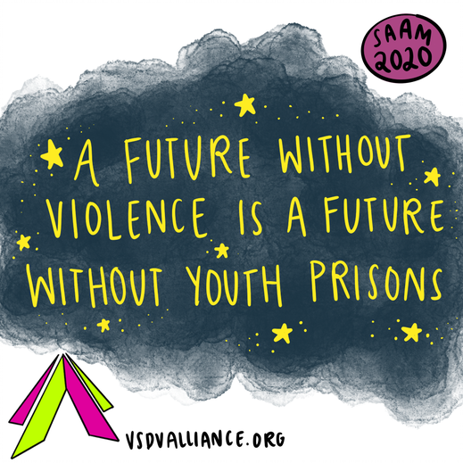 "Image of night sky for Sexual Assault Awareness Month saying ""A future without violence is a future without youth prisons"""