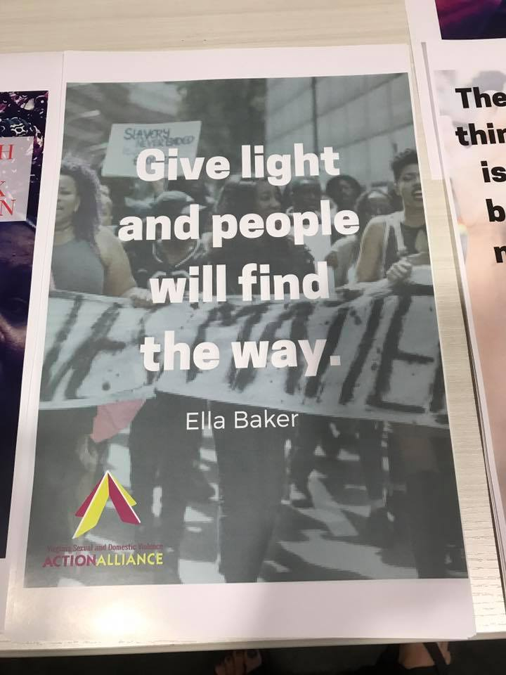 "Poster for the March for Black Women that has the quote ""Give a light and people will find the way."" by Ella Baker."
